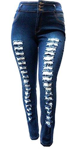 PN WOMENS PLUS SIZE DARK BLUE Denim JEANS Stretch Skinny Ripped Distressed Pants (20