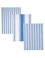 3 Basket Weave Herringbone Striped Tea Towels