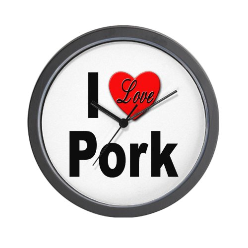 CafePress I Love Pork Wall Clock