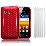 SAMSUNG GALAXY Y S5360 RED TPU GEL SKIN / CASE / COVER + 6-IN-1 SCREEN PROTECTOR PACK PART OF THE QUBITS ACCESSORIES RANGEby Qubits