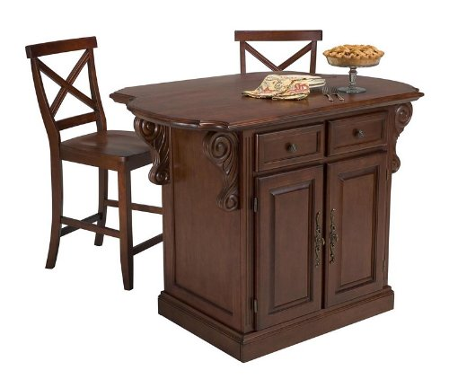Cheap 3pc Kitchen Island and Stools Set in Cherry Finish (VF_HY-5005-948)