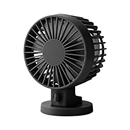 Mini USB Cooling Fan/Personal Fan/Desktop Fan/Computer Fan,eBerry® Large Airflow Adjustable High Speed Quite Portable Dual Blade Table/Desk Cool Fan for Outdoor Camping,Office,Laptop,Note Book (Black)