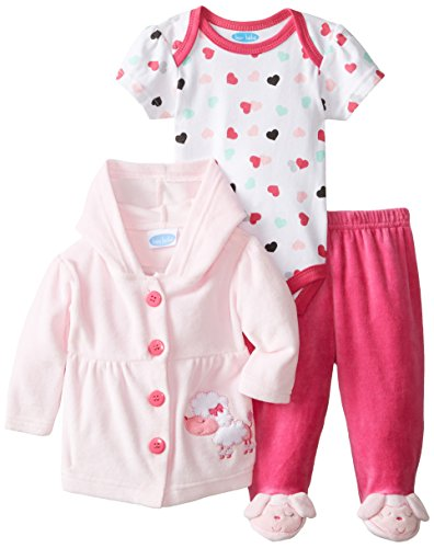 Bon Bebe Baby-Girls Newborn Poodle Velour Jacket And Pant Set With Bodysuit, Multi, 3-6 Months front-1066444