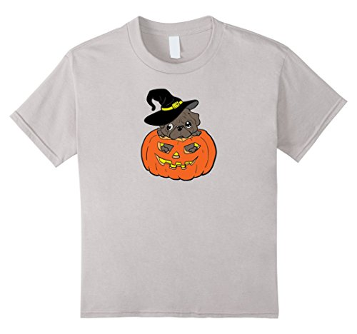 Kids Pug in a Pumpkin Adorable Halloween Graphic Tee Shirt  12 Silver (Cute Pugs In Costumes)