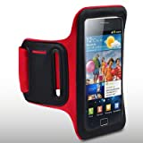 CUSTOM-MADE SAMSUNG i9100 GALAXY S II SPORTS ARMBAND WITH SHOCKSOCK LOGO BY CELLAPOD CASES REDby CELLAPOD
