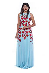 Sky blue with floral patch work evening gown