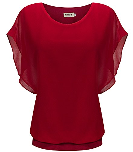 POSESHE Women's Loose Casual Short Sleeve Chiffon Top T-shirt Blouse (M, Red) (Red Shirts Women compare prices)