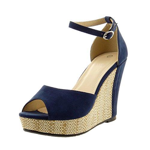 Sopily - Scarpe da Moda sandali alla caviglia donna fibbia corda Tacco zeppa 11 CM - Blu FRF-15-BL188 T 39