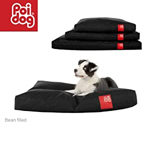 "Poi Dog® Medium (34"") Dog Bean Bag - BLACK Poly Canvas Bean Bags for Dogs - Medium / Small Dogs by Poi Dog®"