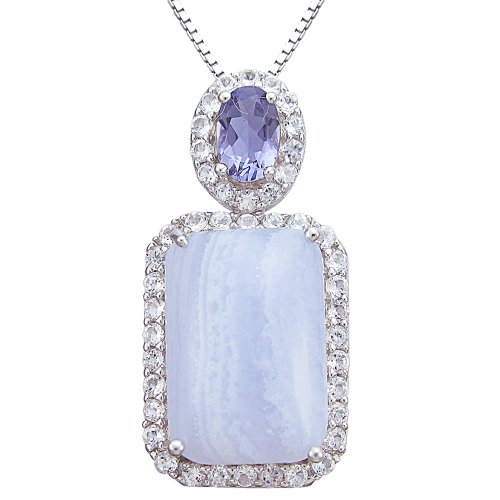 Sterling Silver Blue Lace Agate and Iolite Framed in White Topaz Pendant Necklace, 18