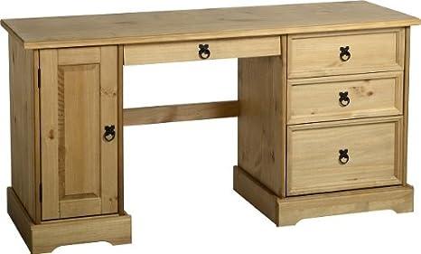 Corona–Escritorio para ordenador/mesa/de almacenamiento–madera de pino maciza–acabado encerado