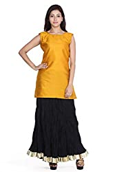 Jaipur kala kendra Women's Casual Plain Yellow Sleeveless Round Neck Cotton Kurti Top Tunic JKKCTY4