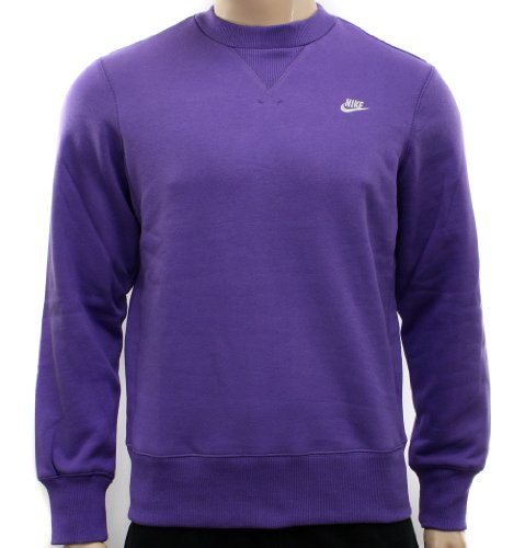 New Nike Mens Purple Fleece Crew Sweatshirt Sweatshirt Size M