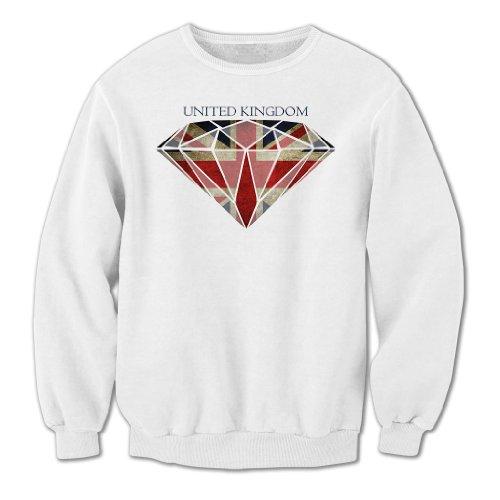 Bang Tidy Clothing Unisex Adults Diamond Union Jack Flag Sweatshirt White S