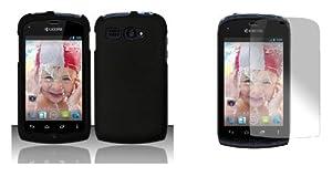 Kyocera Hydro -Boost Mobile Premium Combo Pack - Black Hard Case , Atom LED Keychain Light , Screen Protector