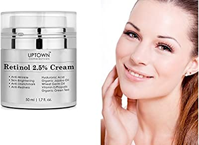 Retinol 2.5% Cream From Uptown Cosmeceuticals for Face and Eye Area will Truly Nourish Your Skin, Potent Anti Aging Formula Reduces Wrinkles, Stretch Marks & Redness, Perfect Night Cream, 50ml