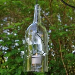 Large Hanging Wine Bottle Candle Holder, 12 X 4 Inch, 1.5L, Clear
