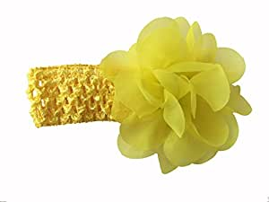 BELLAZAARA Baby Girl Lemon Yellow Chiffon Flower With Elastic crochet headband