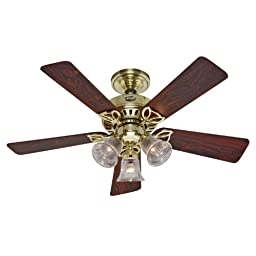 Hunter 20434 The Beacon Hill Three-Light 42-Inch Five-Blade Ceiling Fan, Bright Brass with Clear Globes