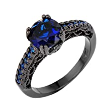 buy Rongxing Jewelry Blue Sapphire Zircon Rings Women'S Black Gold Filled Engagement Size 10