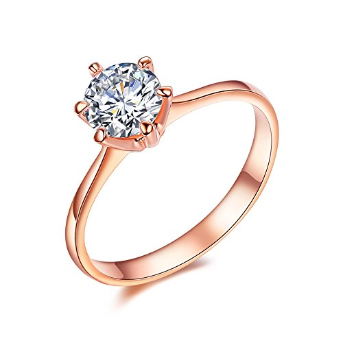 Serend 18k Rose Gold Plated 1 Carat Round Cubic Zirconia Solitaire Wedding Engagement Band Ring, Size 6 (Rose Gold Rings Size 6 compare prices)
