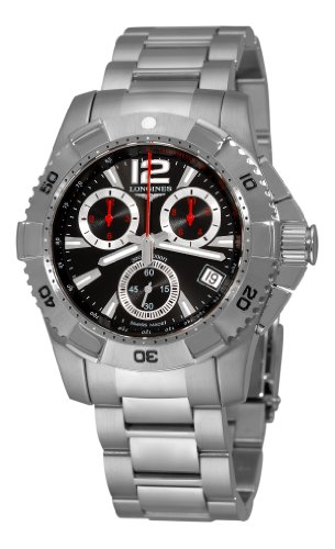 Longines Men's L36504566 HydroConquest Quartz Chronograph Black Chronograph Dial Watch