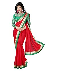 SRP Fashion Selection Women's Chiffon Saree (SRP-OF42, Red)