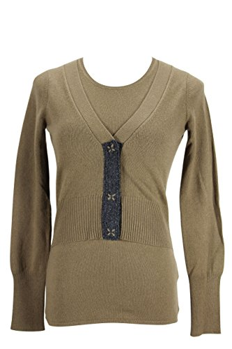 paule-ka-womens-cardigan-sweater-size-s-us-regular-brown-wool-blend