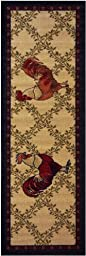 Kitchen Collection Rooster Beige Multi-Color Printed Slip Resistant Rubber Back Latex Contemporary Modern Runner Area Rug (Single Rooster)
