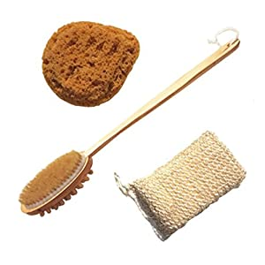 Amazon Com 3 Piece All Natural Bath Sponge Wooden Back
