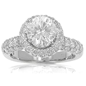 3.90 ct. TW GIA Certified Round Diamond Engagement Ring in 14 kt. Pave Mounting Size 7