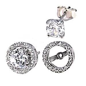 Sterling Silver Removeable 10mm Halo Earring Jacket with 6mm Russian Ice on Fire Diamond CZ Gemstone Cast Basket Stud Earring Set, Kristina, 1.70 carats