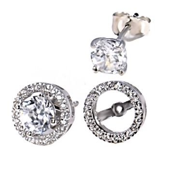 Sterling Silver Removeable 10mm Halo Earring