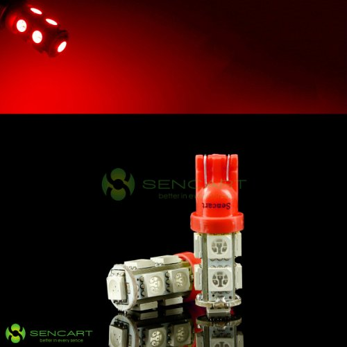 2X T10 9-Smd 5050 Led Red Lights Bulbs For 194 168 W5W Interior,Door, License Plate, Parking Lights