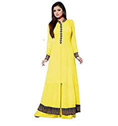 Kashmira Women's Faux Georgette Embroidered Unstitched Anarkali (kas-lt-rep-yew_Yellow_Free Size)