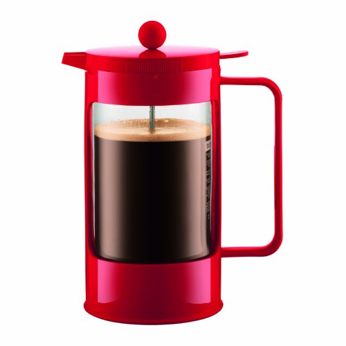 Bodum Bean 8-Cup Double-Wall Thermal French Press Coffee Maker, Red