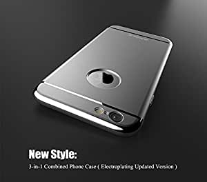 CASECART Luxury 3 in 1 Electroplating Hard Plastic Removable Case Arc Edge Fashion Armor Back Cover Case For Apple iPhone 6/6S - SILVER ...