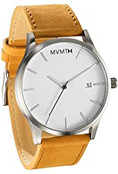MVMT Watches White Face with Tan Leather Strap Men's Watch