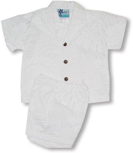 Cabana Set - White Season Boy's Hawaiian Aloha Camp Shirt & Cotton Shorts 2PC Set in Wedding White - 4T