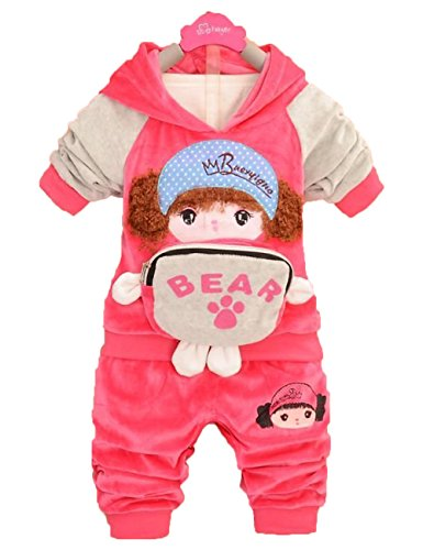 2 Pcs Baby Girl Hoodie Cartoon Doll Image Tracksuit Outwear Outfit (18-24 Months, Red)