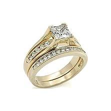 buy 1.8 Carat Princess Cut Basket Silver Plating Wedding Engagement Ring Set Size 5 6 7 8 9 10