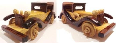VINTAGE WOODEN HANDCRAFTED CLASSIC CAR HOME OFFICE AUTOMOBILIA DECORATION