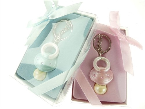 Firefly Imports Baby Shower Party Favor Baby Pacifier Key Chain, Light Pink