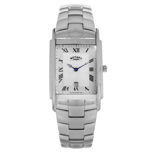 Rotary Men's Analogue Watch GB42829/01 with Silver Roman Dial and Steel Bracelet