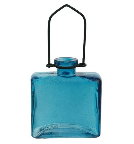 Hanging Colored Glass Floral Blue Square Vase ~1/pc ~ Colored Glass Bottle ~ Garden Vase ~ Colored Vase ~ Bud Vase ~ Wall Vase