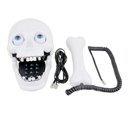 Generic Jumping Eyes Skull Telephone with Bone Handset - White picture