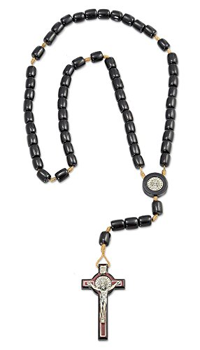 "Saint St Benedict Black Wooden Rosary Necklace with 2.5"" Cross, Made in Brazil, 19 Inch"