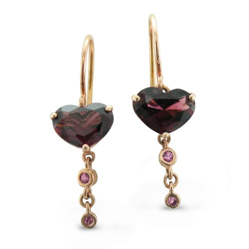 10k Rose Gold Heart Natural Brazilian Garnet Drop Earrings - 3.10 cttw