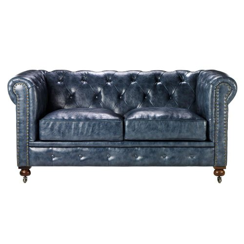 Leather Sofa Gordon Tufted Loveseat 32 Hx66 Wx38 2 Blue Sale
