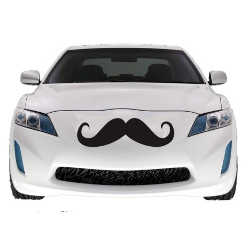 "Mustache Car Decal , Vinyl Sticker, Large 2 PACK, 22"" BLACK"